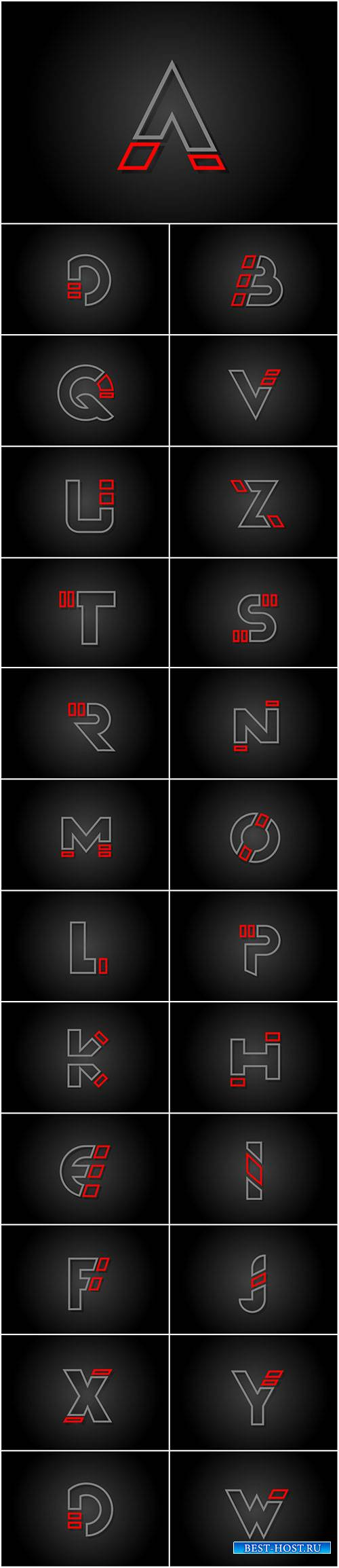 Alphabet line letter red black for company logo icon design