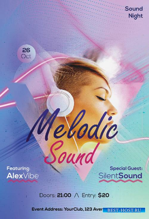 Melodic Sound - Premium flyer psd template