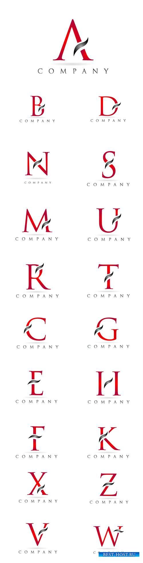 White red alphabet letter logo company icon design