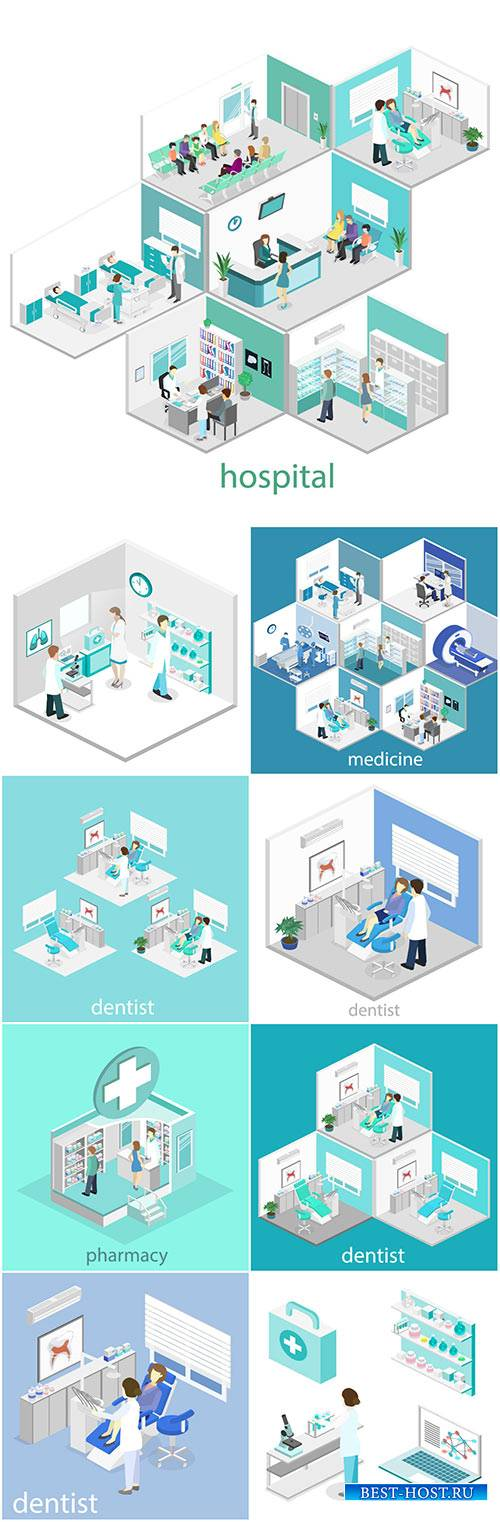 Isometric flat interior of hospital room, pharmacy, doctor's