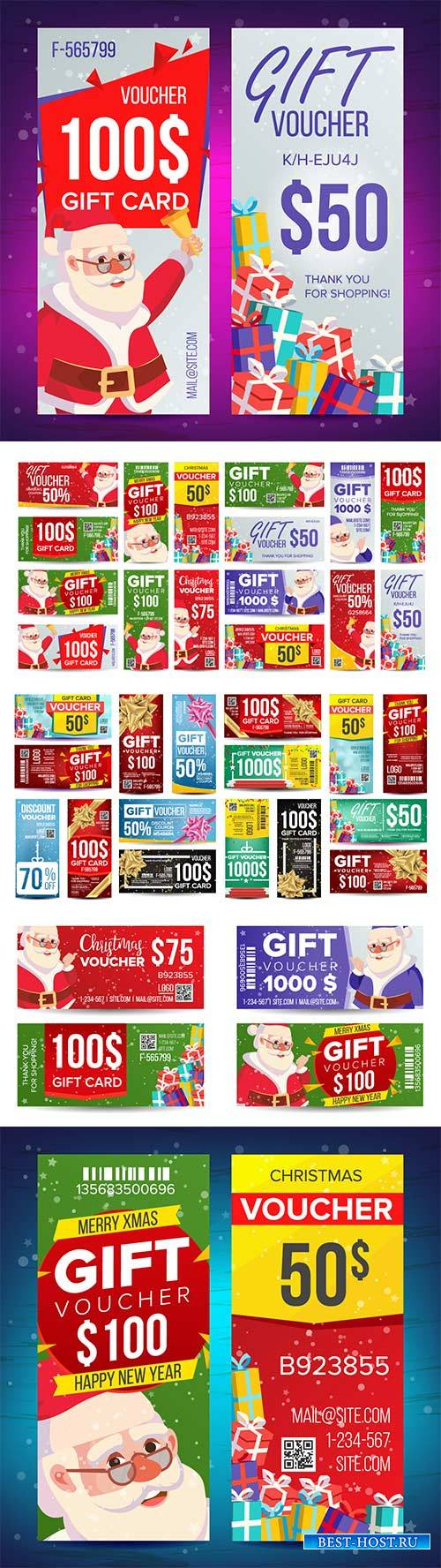 Merry Christmas voucher gift design vector set, Santa
