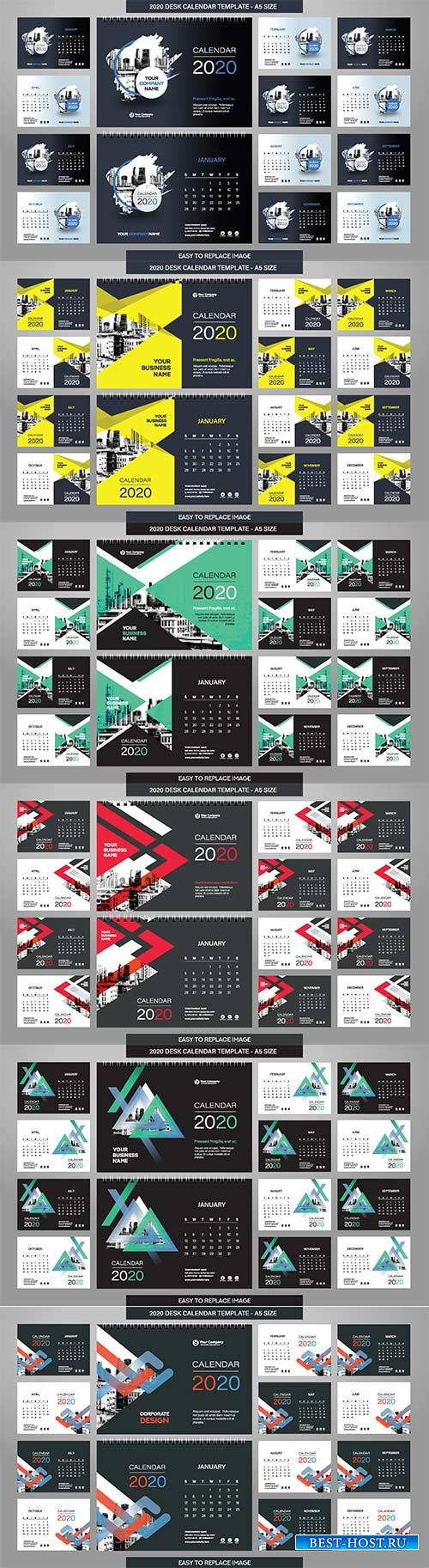 Desk Calendar 2020 template - 12 months included - A5