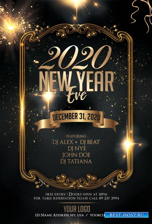 New Year Eve 2020 PSD Flyer Template
