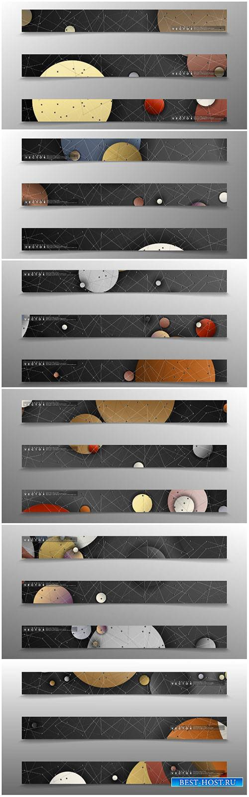 Banner collection, vector backgrounds with colorful circles. space banner
