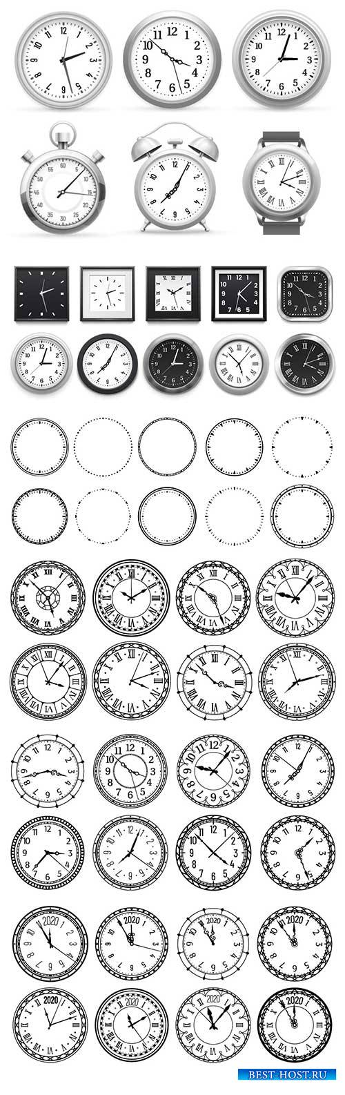 Realistic clock, modern white round wall clocks, black watch face and time  ...