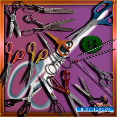 Png клипарты для фоторамки - Ножницы и иглы
