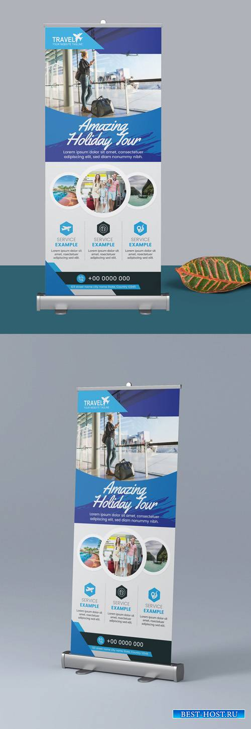 Blue Roll Up Banner Layout 298078906