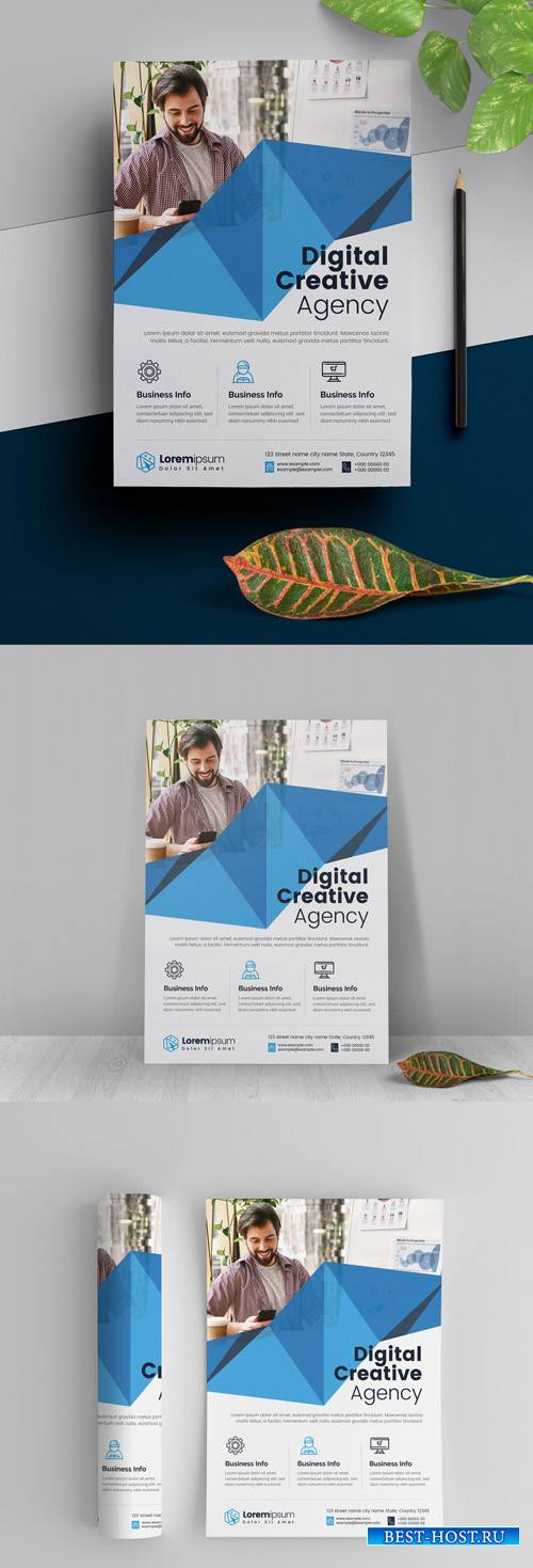 Abstract Flyer Layout with Blue Elements 295382492