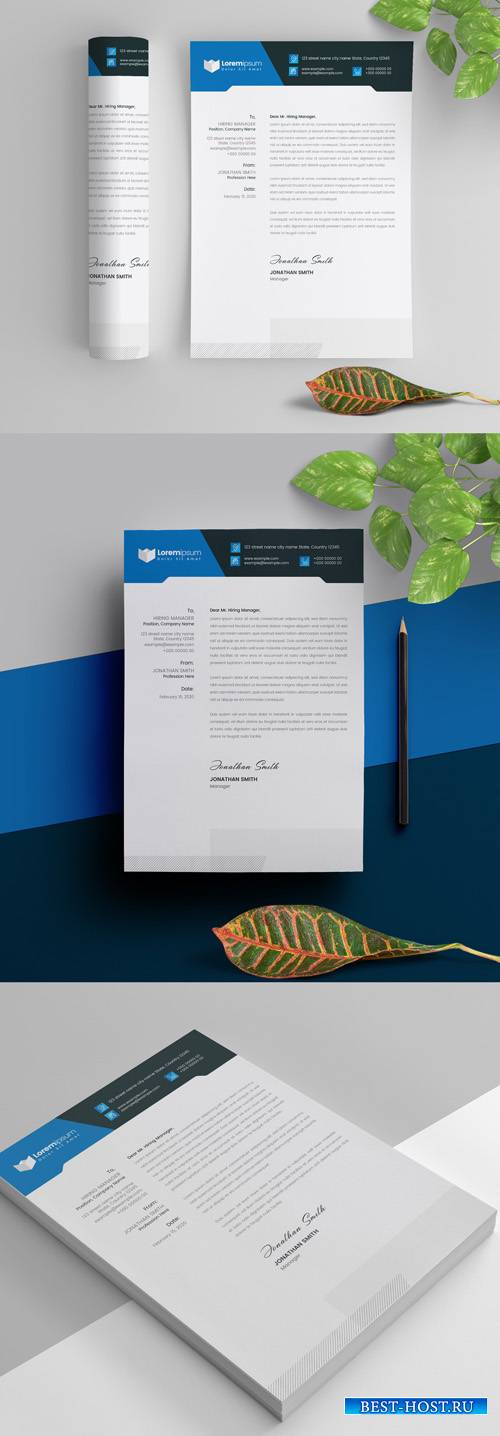 Blue Letterhead Layout 298078959
