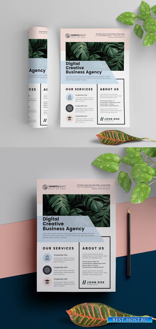 Corporate Flyer Layout with Pastel Elements 291965080