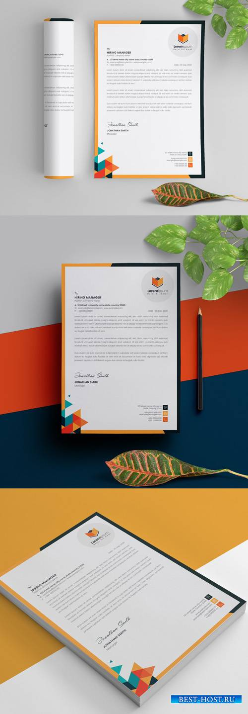 Geometric Multicolored Letterhead Layout 298078999