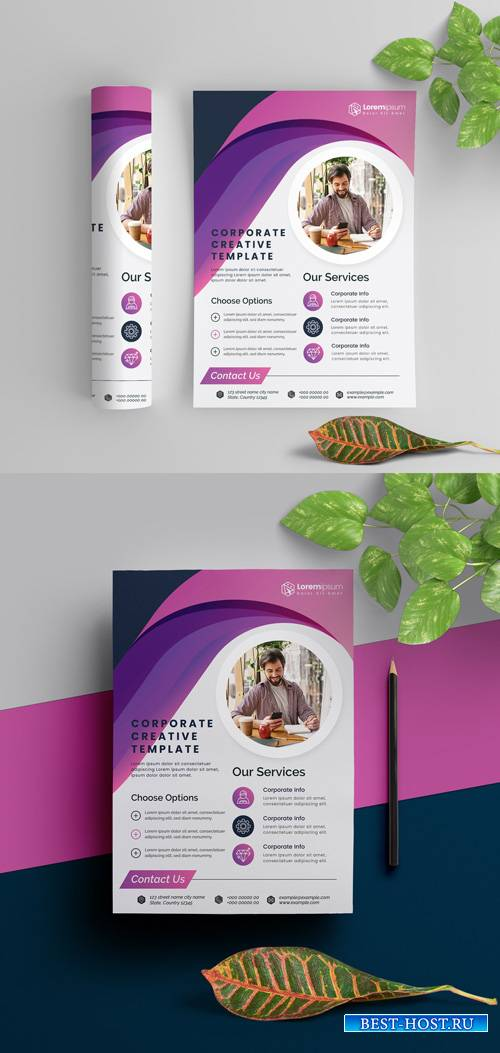 Corporate Flyer Layout with Purple Elements 290392311