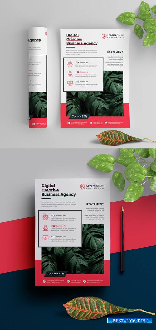 Business Flyer Layout with Red Elements 290392312