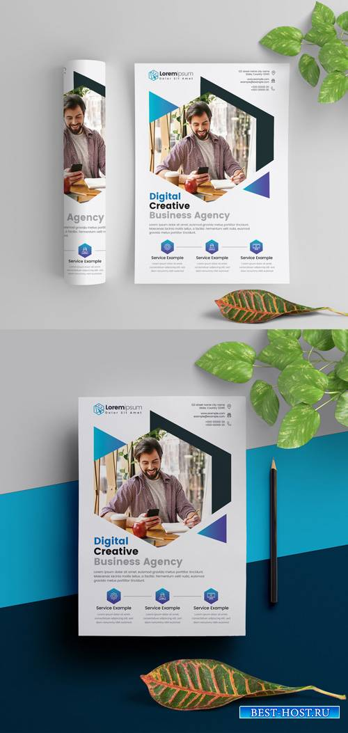 Corporate Flyer Layout with Blue Elements 290392290