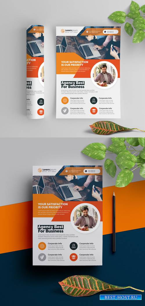 Corporate Flyer Layout with Orange Elements 290392269