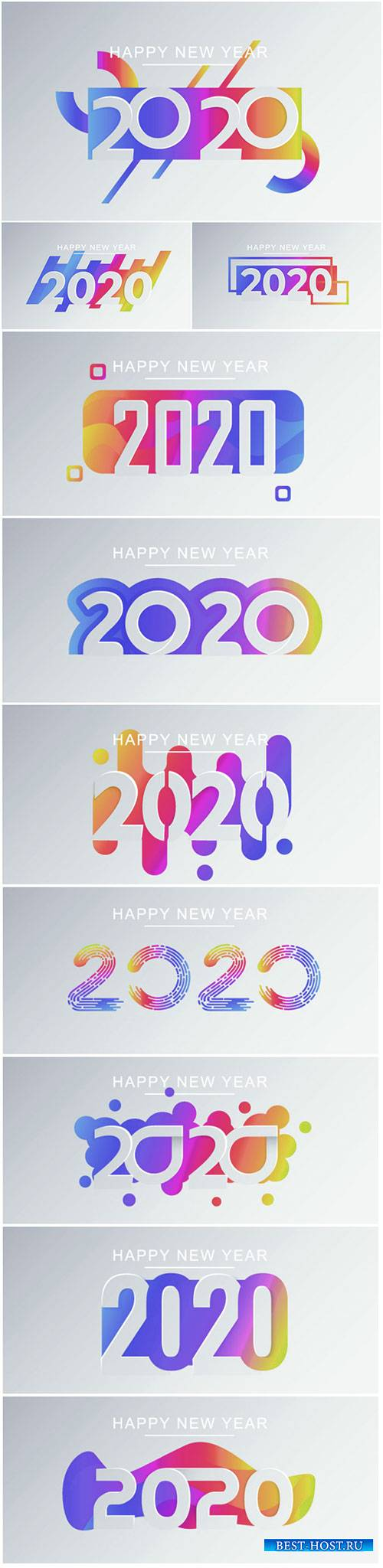 Happy New Year greeting card template, creative paper cut