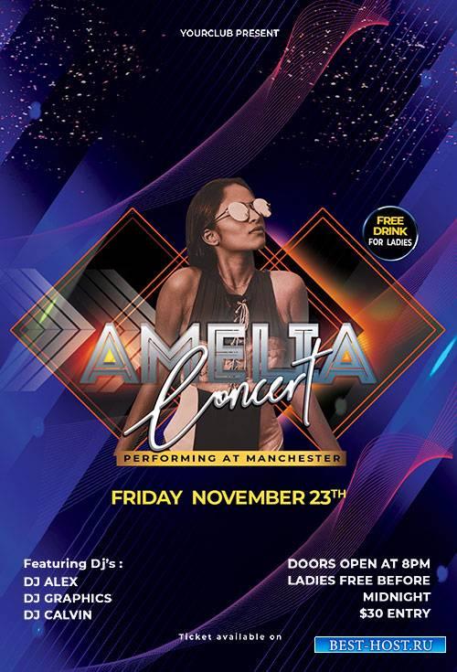 Amelia Concert - Premium flyer psd template