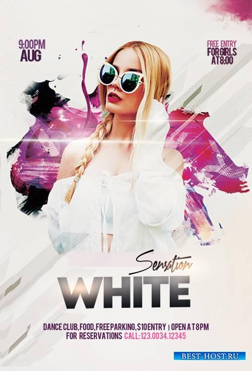 White Sensation Party PSD Flyer Template