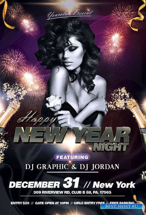 Happy New Year Night - Premium flyer psd template