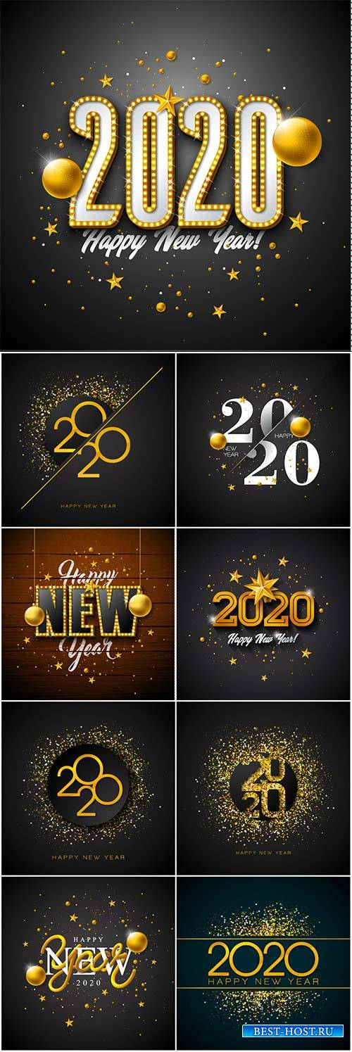 2020 Happy New Year illustration with 3d gold number, christmas ball and li ...