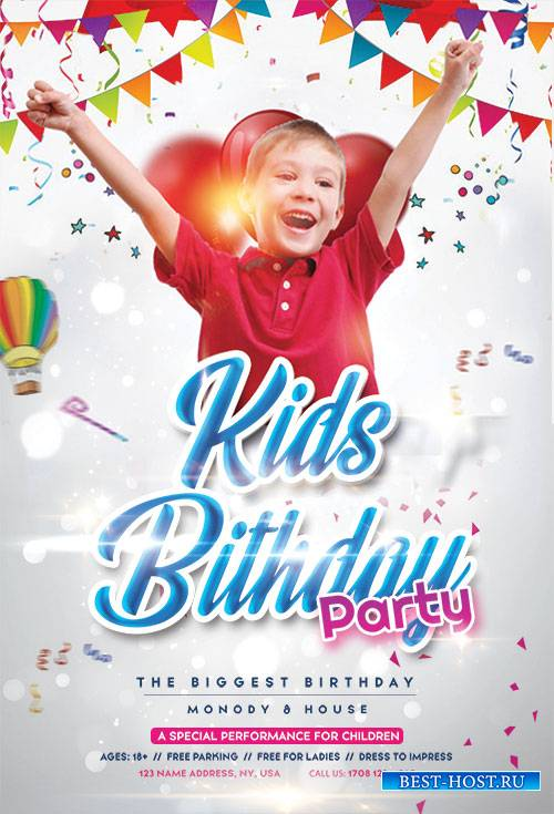 Birthday Kids Event PSD Flyer Template