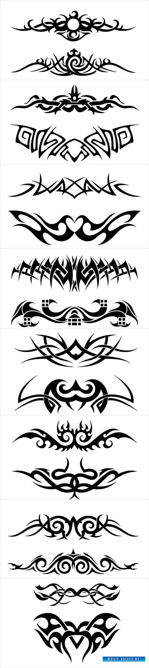 Vector flat tribal tattoo pattern # 2