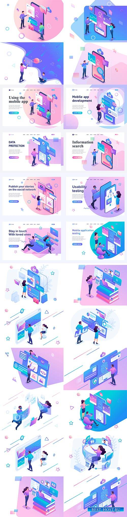 Flat isometric vector 3D concept illustration # 43