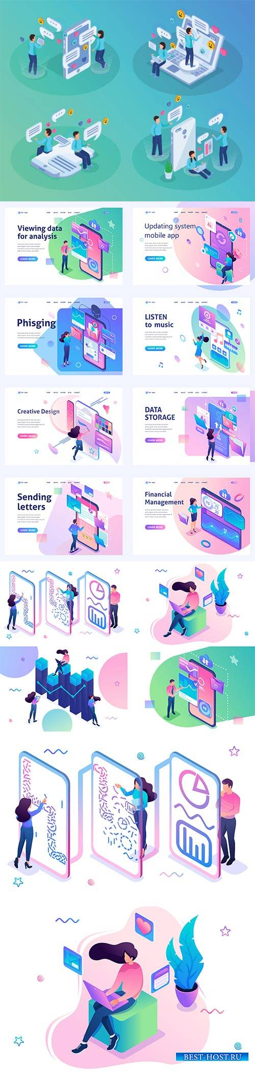 Flat isometric vector 3D concept illustration # 46