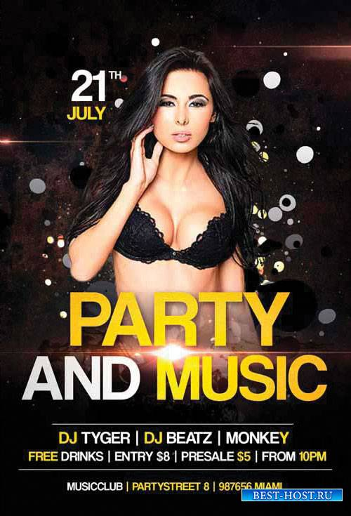 Party and Music - Premium flyer psd template