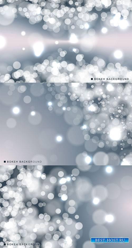 Серебряные фоны с боке - Векторный клипарт / Silver backgrounds with bokeh  ...