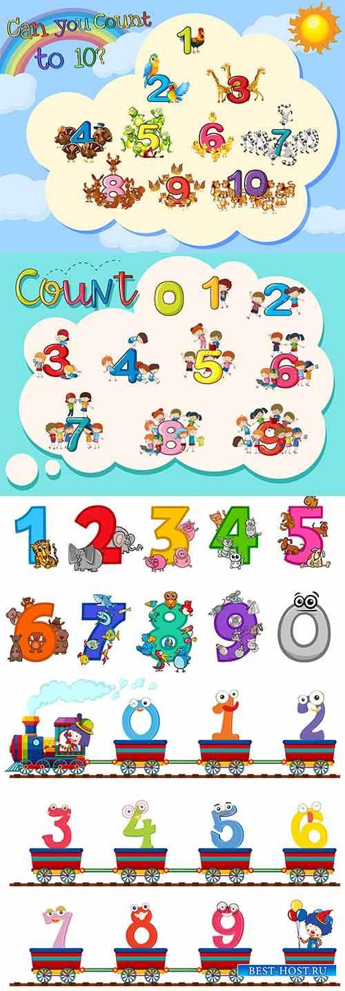 Разноцветные цифры в векторе / Multicolored numbers in vector