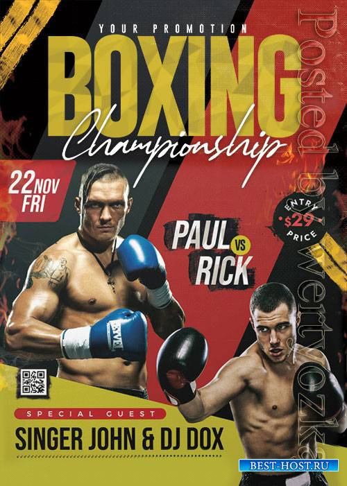 Boxing Tournament - Premium flyer psd template
