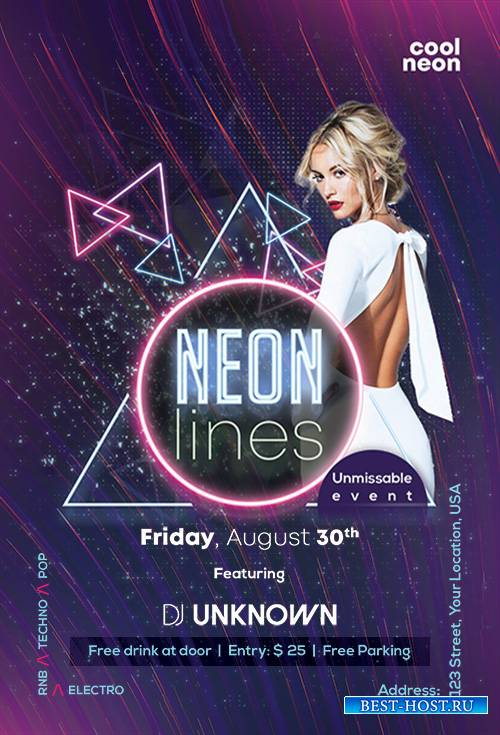 Neon Lines - Premium flyer psd template