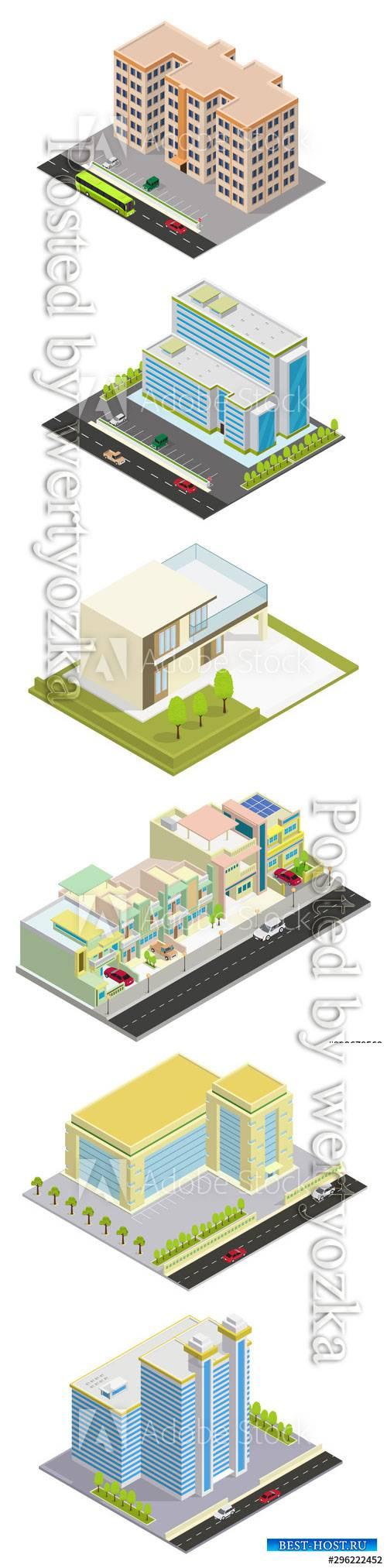 Vector isometric hotel, apartment, or skyscraper building