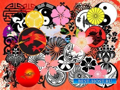 Клипарт Японские орнаменты, гербы и символы