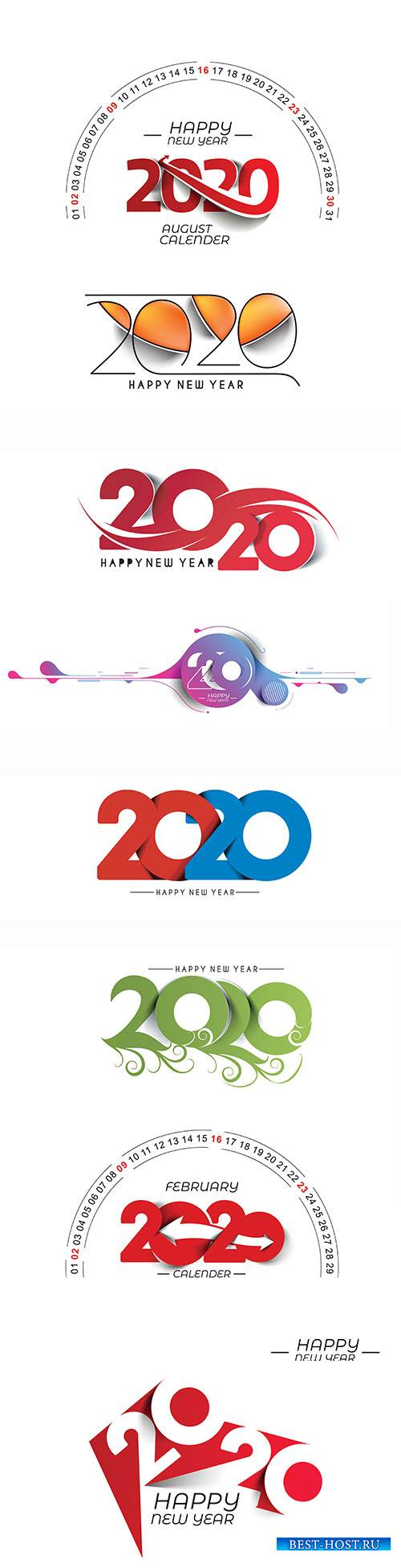Happy New Year 2020 text design vector illustration