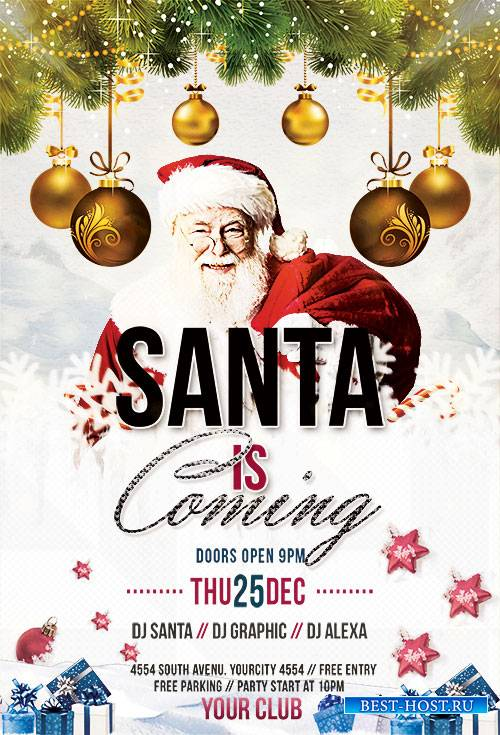 Santa is Coming - Premium flyer psd template