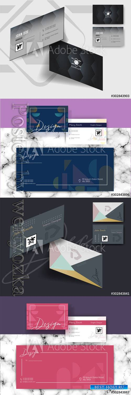 Front and back view of business card design