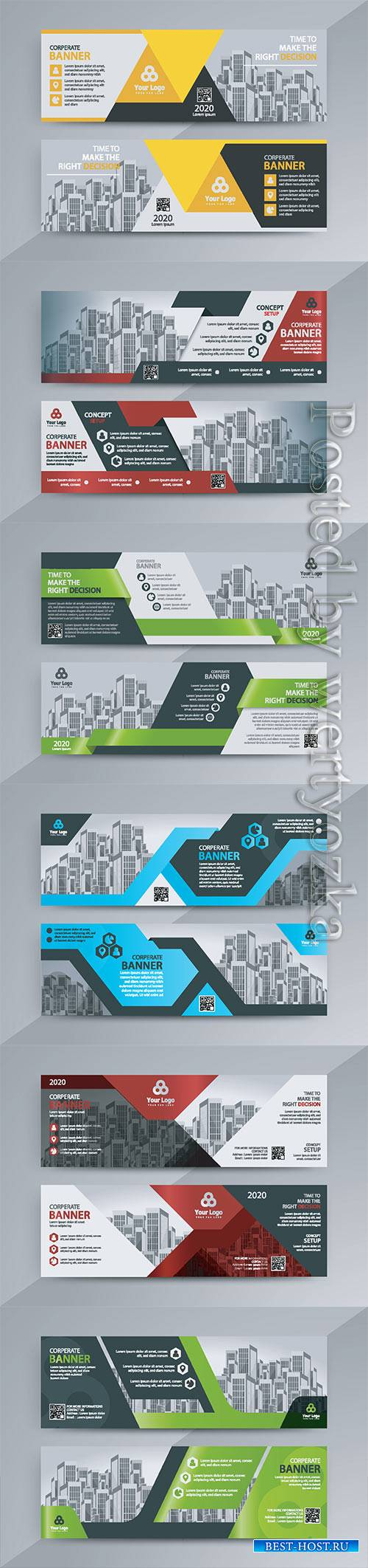 Advertising business banner layout template flat design set