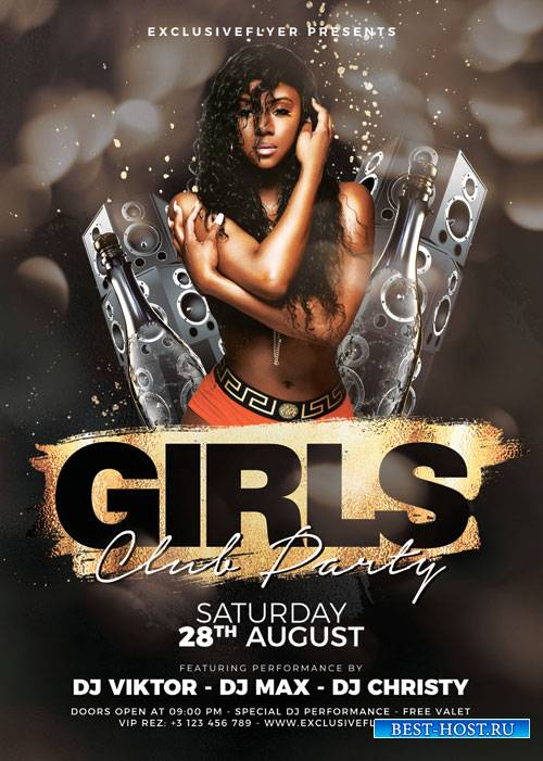 Girls club party - Premium flyer psd template