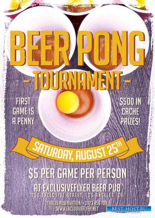 Beer pong tournament - Premium flyer psd template