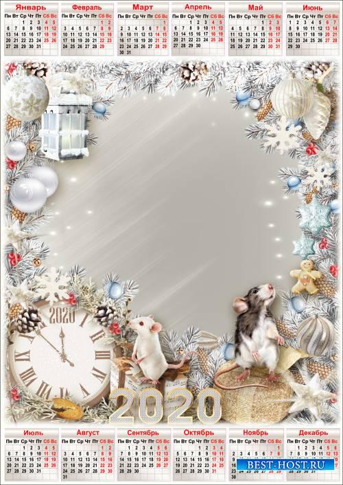 Праздничная рамка для фото с календарём на 2020 год - За окном снежинок ста ...