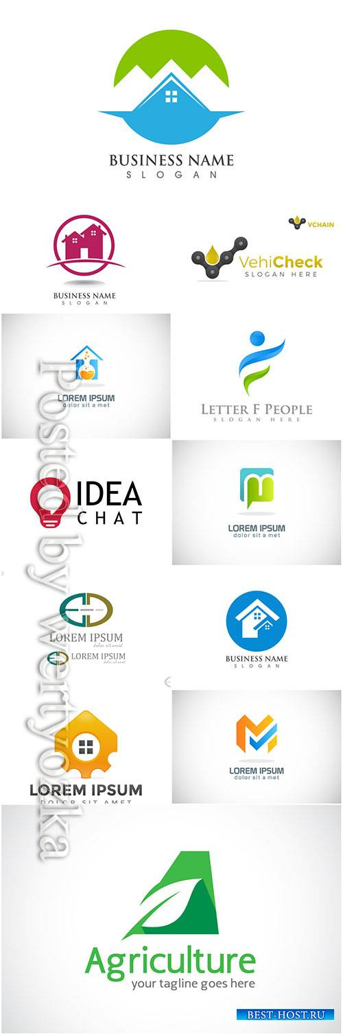 Logos set, business vector # 8