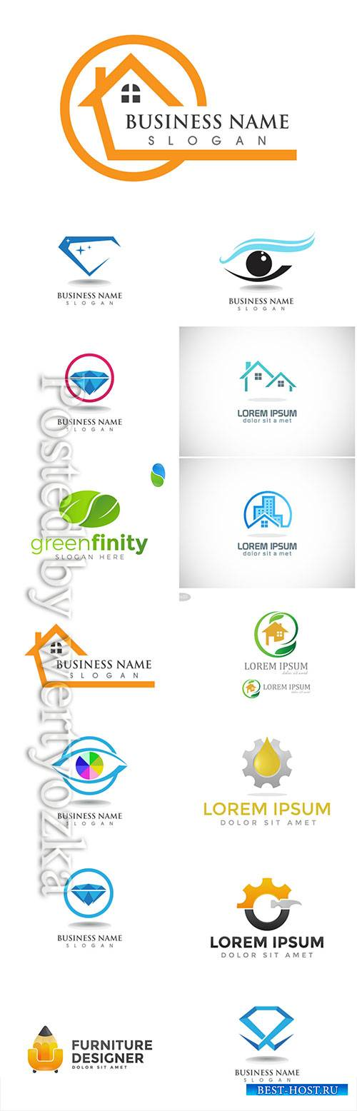 Logos set, business vector # 9