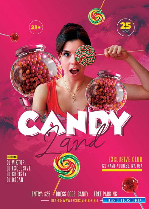 Candyland party - Premium flyer psd template