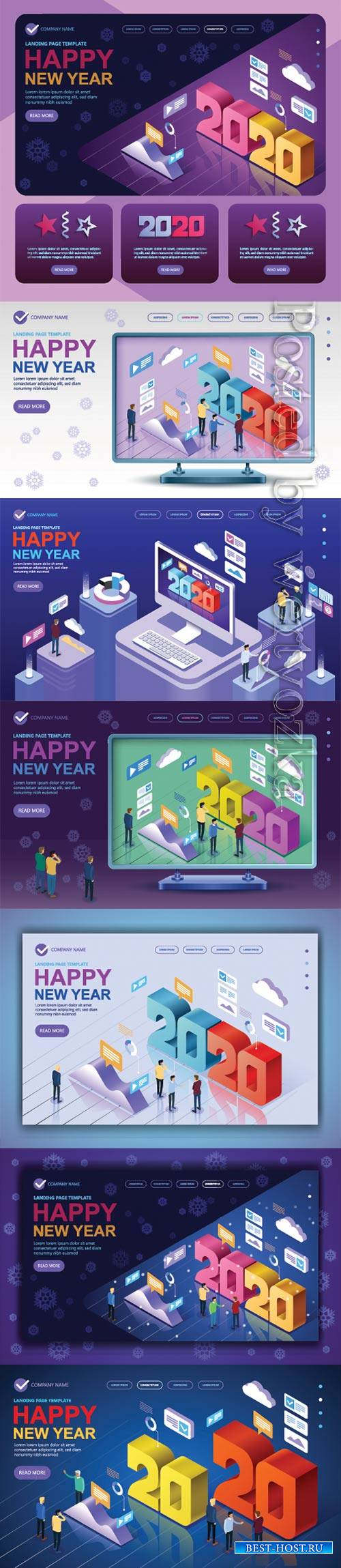 Isometric vector concept banner 2020 a Happy New Year greetings