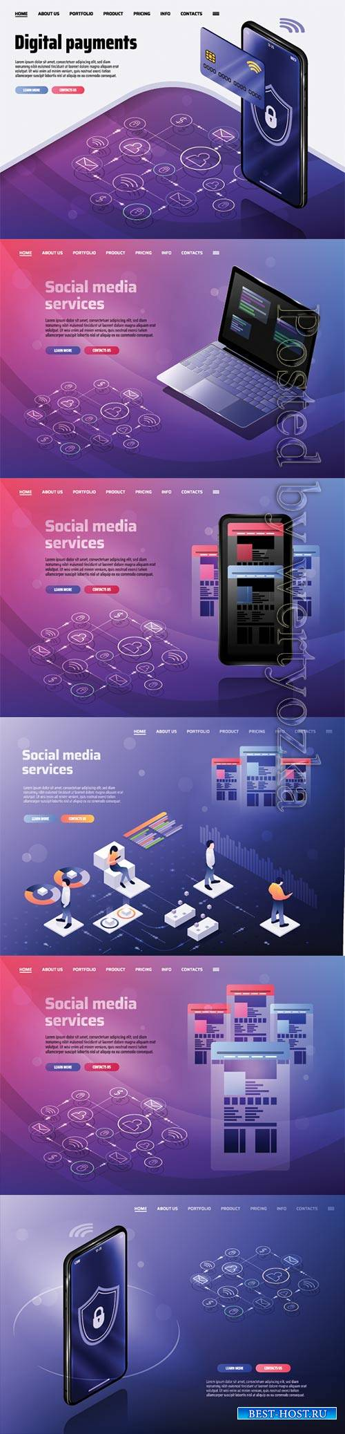 Isometric landing page email service or mobile app flat concept