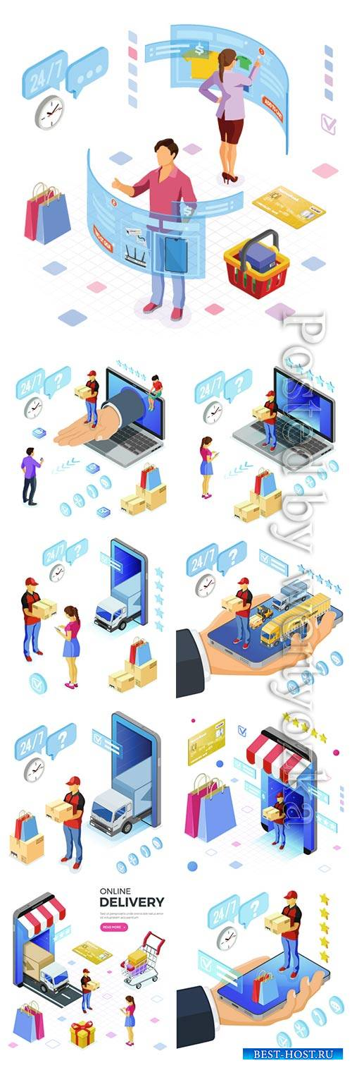 Isometric Internet Shopping Delivery and Logistics