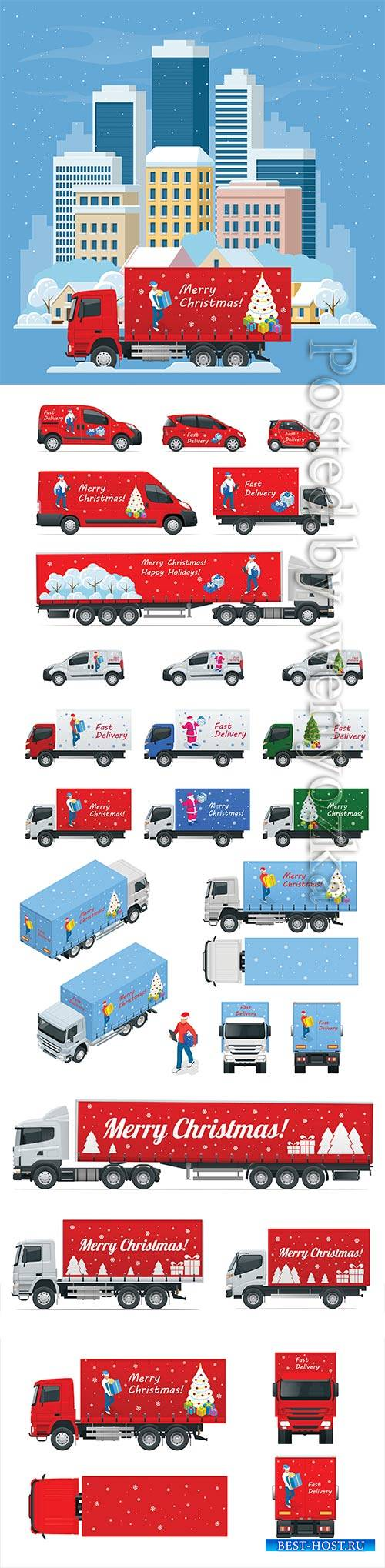 Isometric Christmas and New Year Delivery Truck