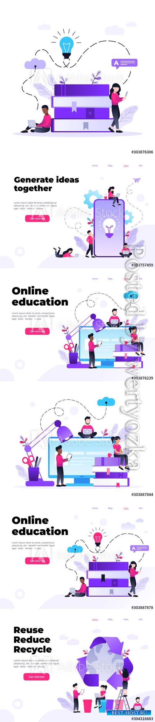 Landing page template of Online education program